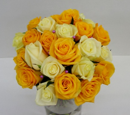compact style yellow roses