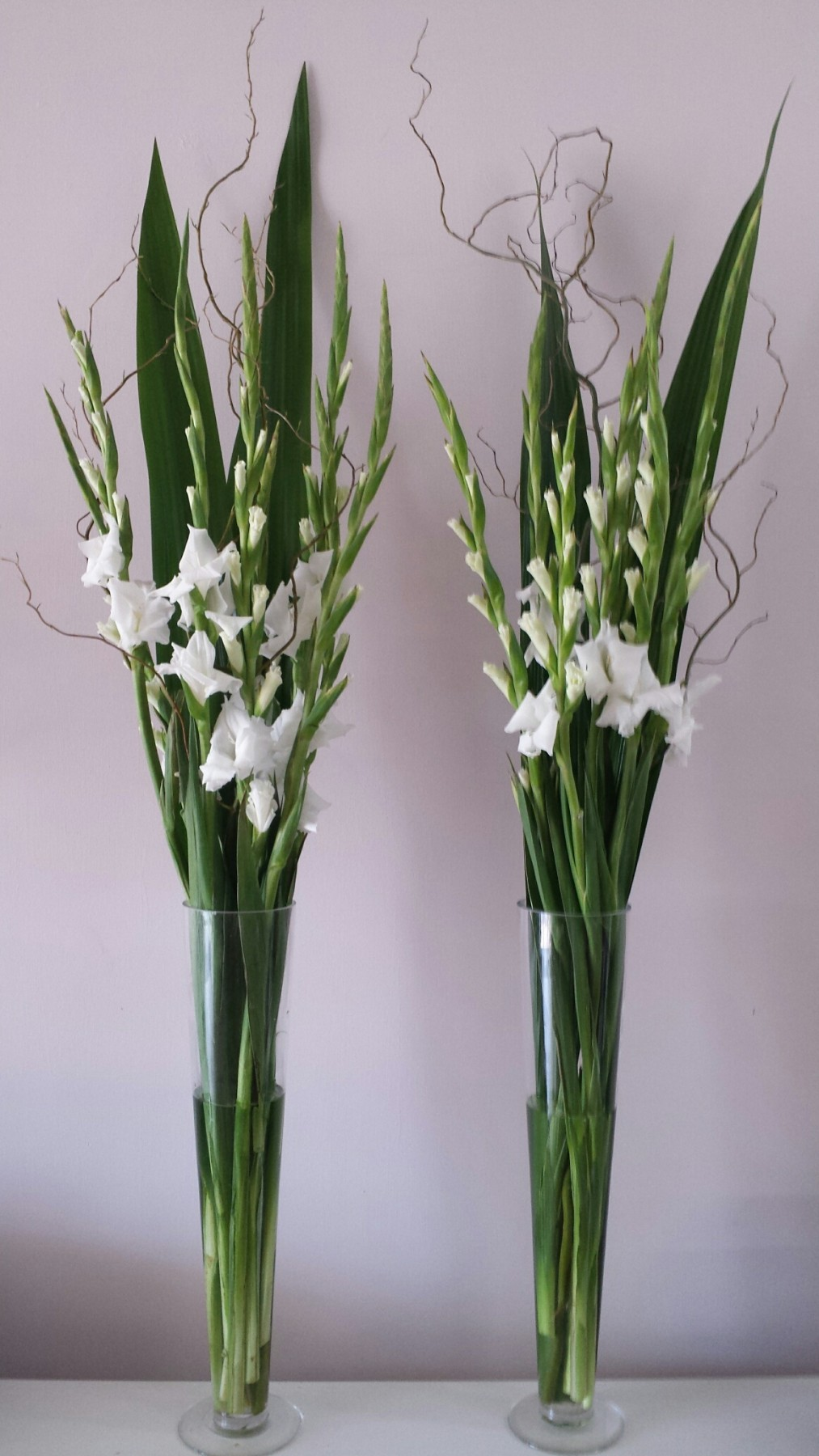 white gladys and gymea leaves in tall glass vases