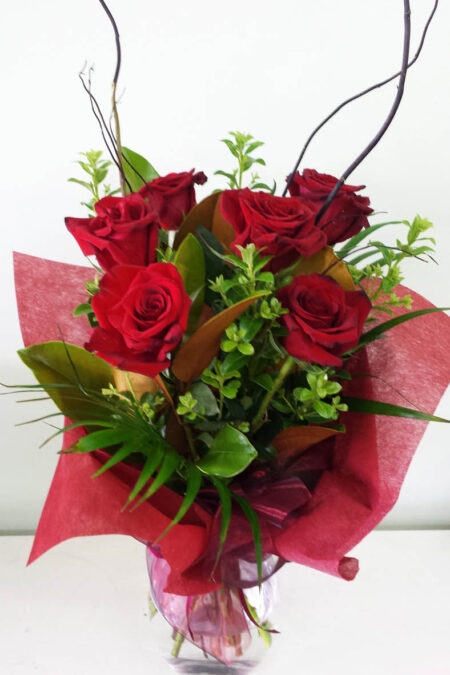 Valentines Bouquet 6 long stem red roses