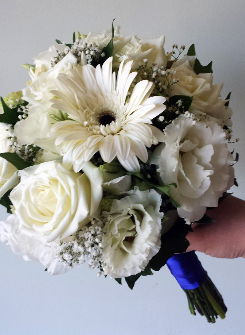 White roses, gerberas and lisianthus bridal posy