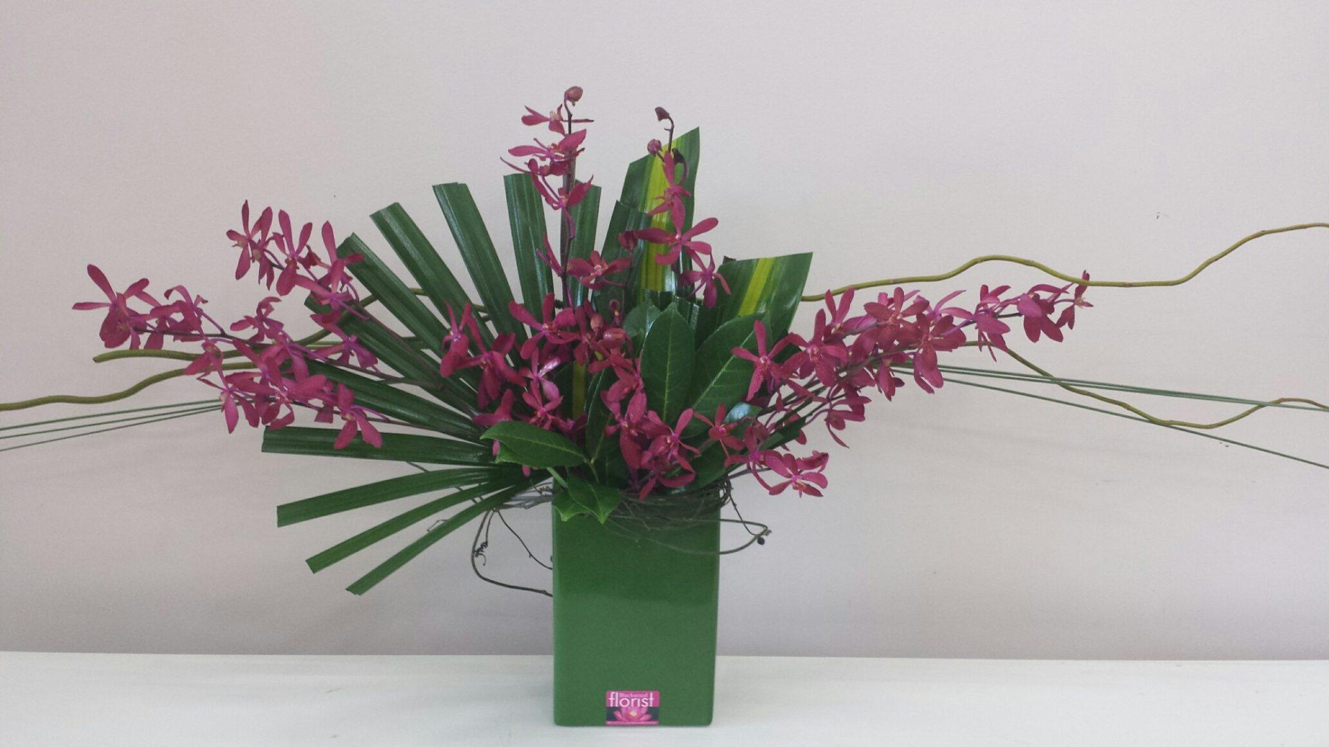 Oriental style orchid arrangement