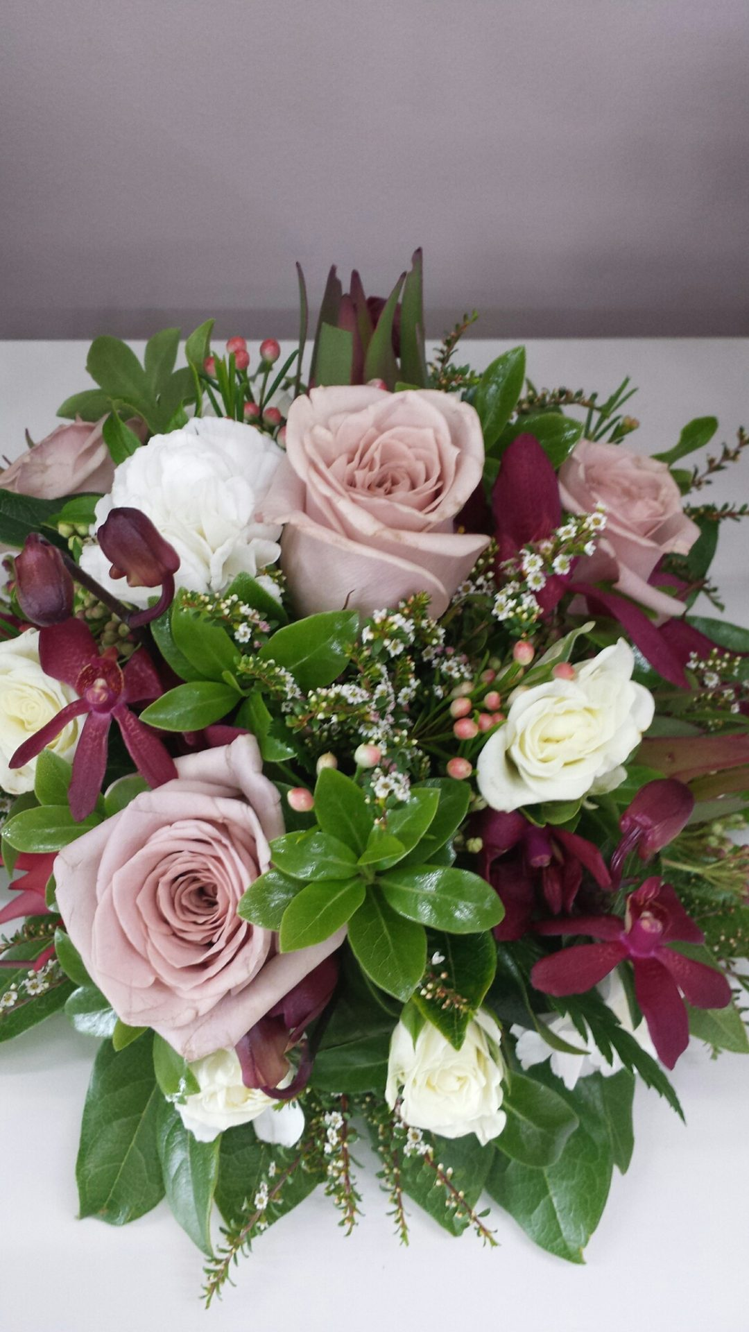 Cake topper with Antique roses, burgundy orchids and spray roses