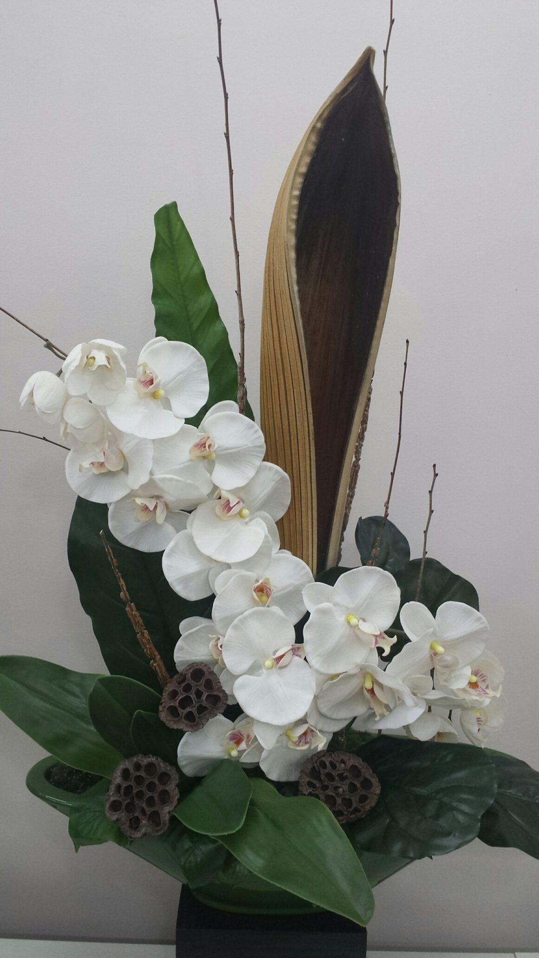 Modern orchid, Lotus pod and Palm husk design