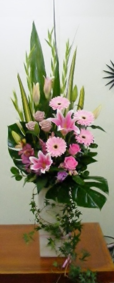 Pedestal Arrangement - pinks and cascading ivy