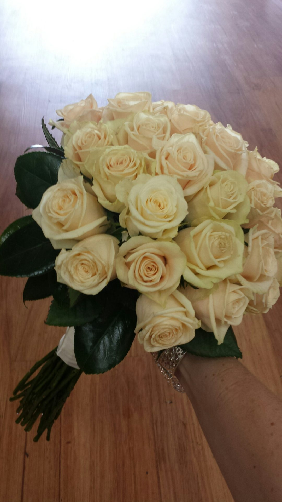 Cream rose compact bouquet
