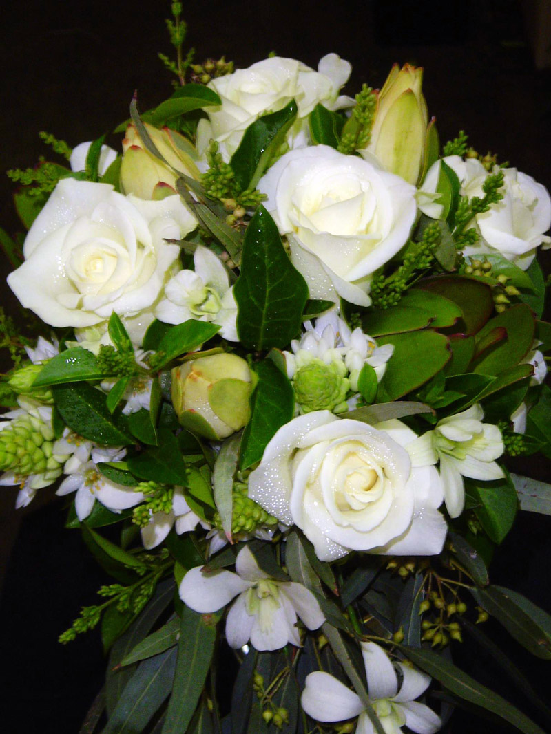 White Rose And Succulent Bouquet