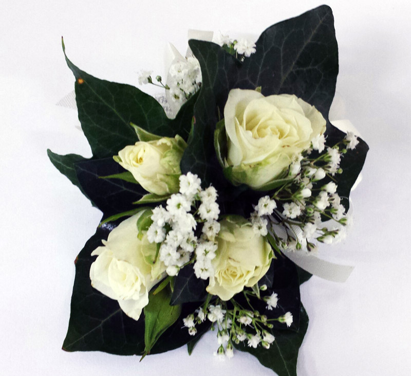 Spray-rose and Babies Breath corsage