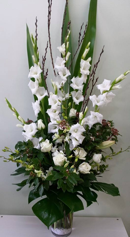 Tall vase white and green flowers