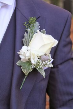 dusty miller and white lisianthus buttonhole