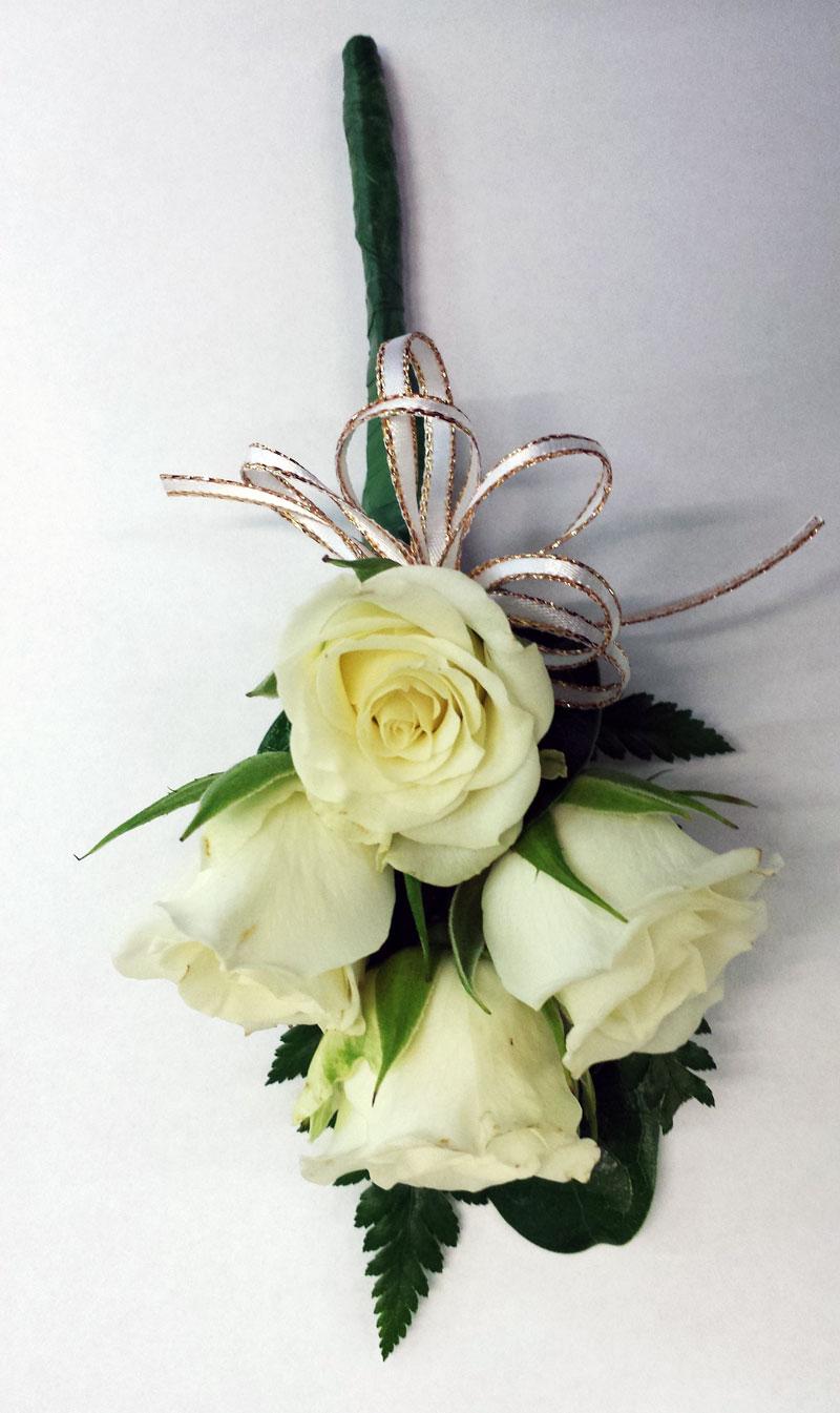 white rose ladies pin on style corsage