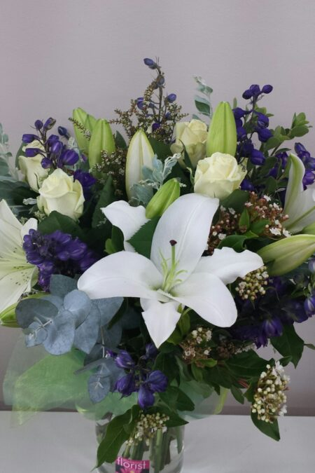 White and purple garden bouquet
