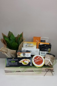 Gourmet products with potted indoor plant