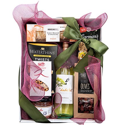 Tasty Nibbles Hamper with wine