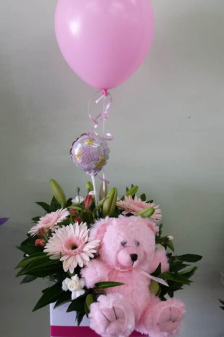 Baby box of flowers, teddy bear and balloon