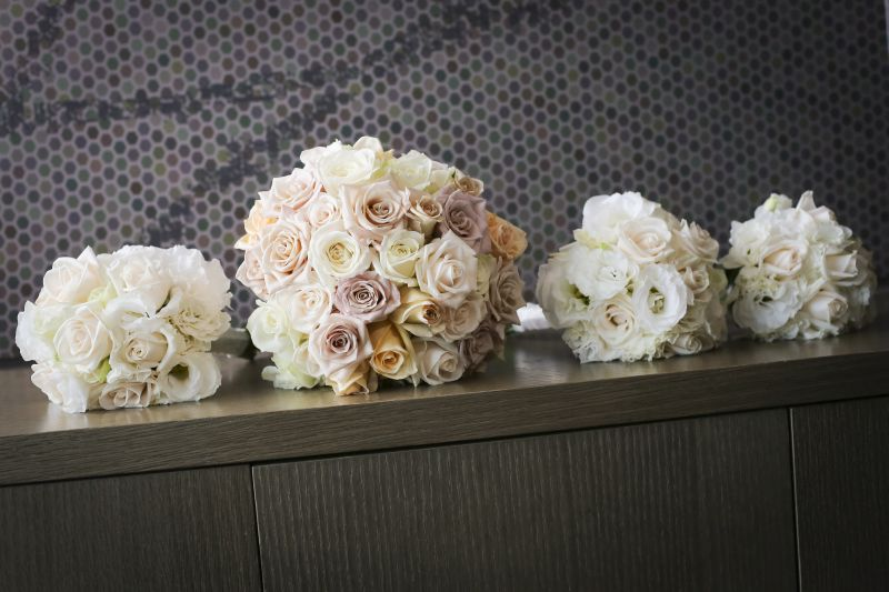 Cream, latte toned compact rose bridal bouquet