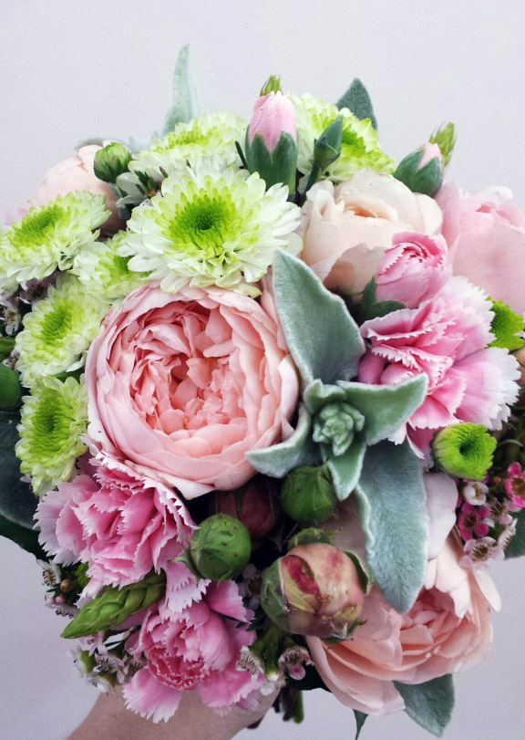 David austin rose, dusty miller foliage, green daisy and spray carnation bridal bouquet