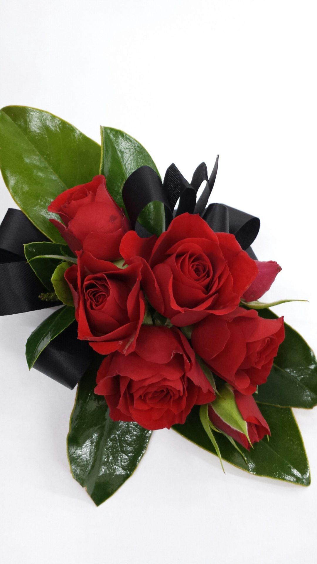 Red spray rose corsage