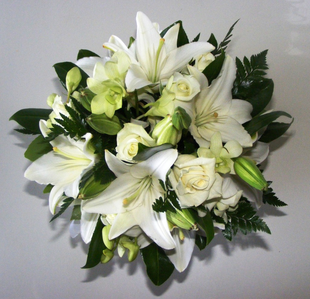 Large Bridal Posy - lily, rose, orchid