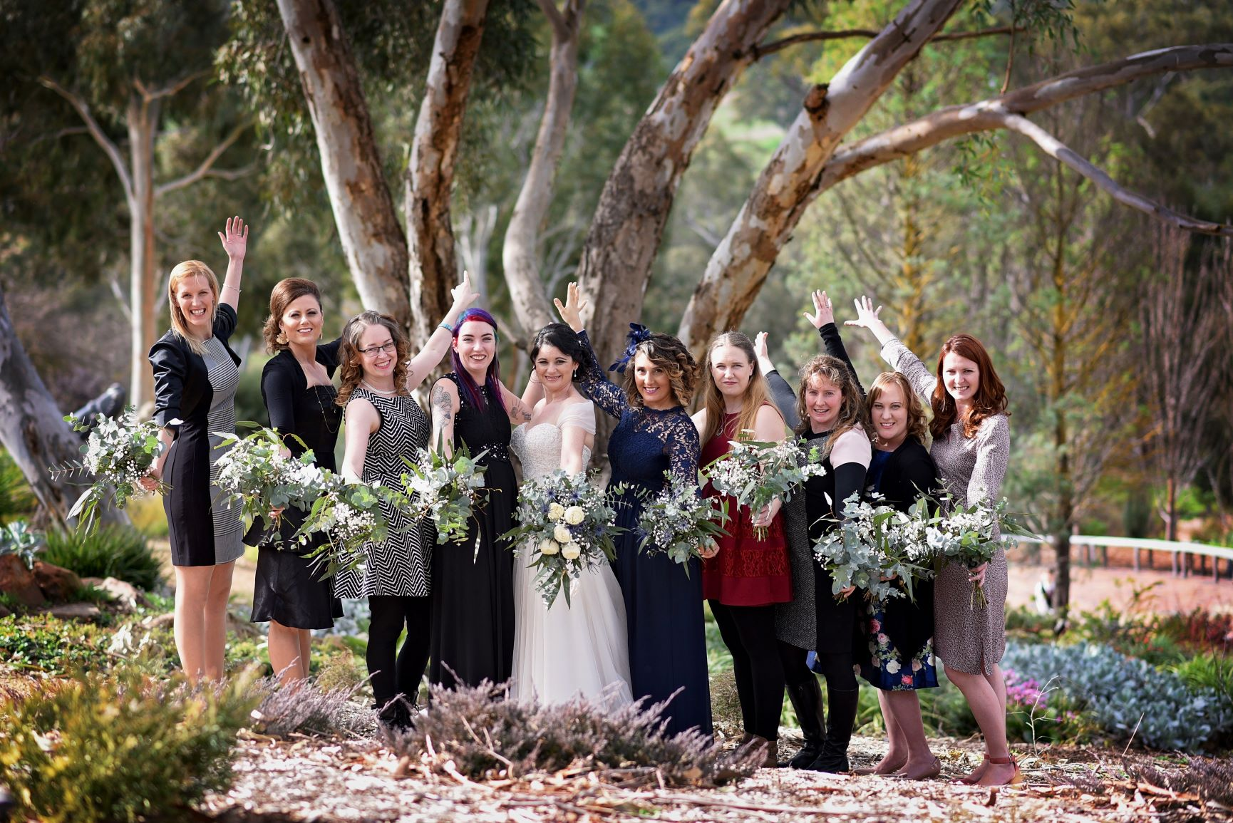 Blue gum themed wedding party