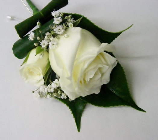 Buttonhole - white rose double bloom
