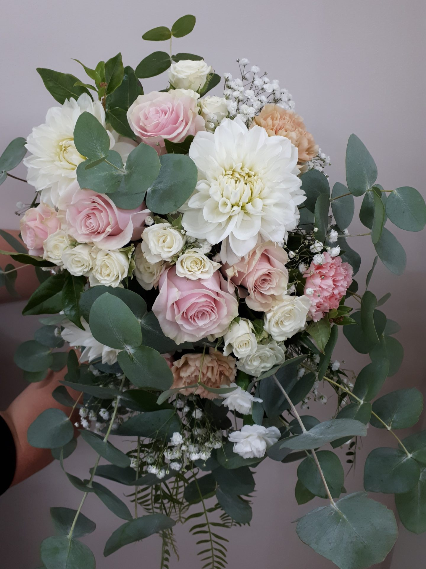 Cascading bouquet Dahila, roses, carnations with blue gum
