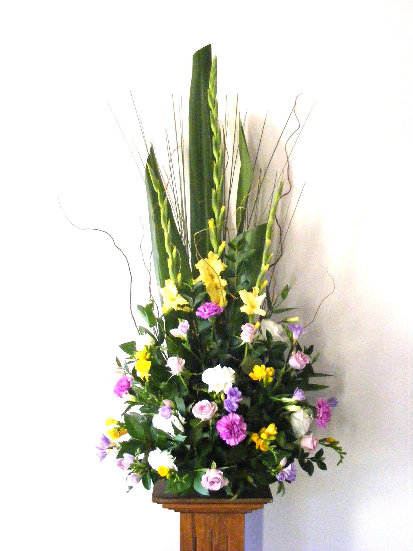 Church Arrangement in bright spring colours