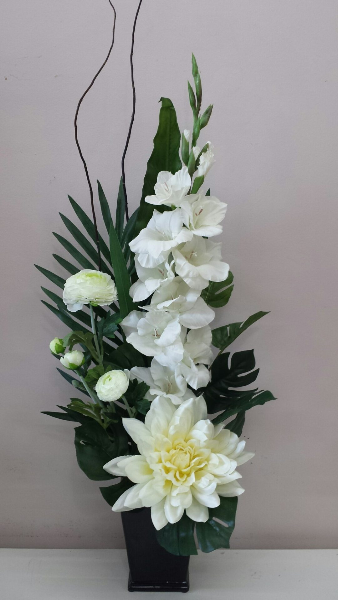 Gladioli, Dahlia and white mix flowers