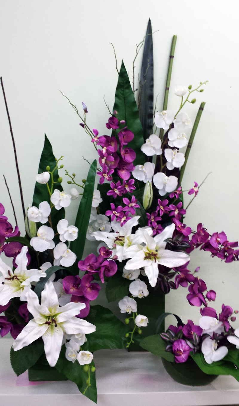 purple and white artificial matching arrangements