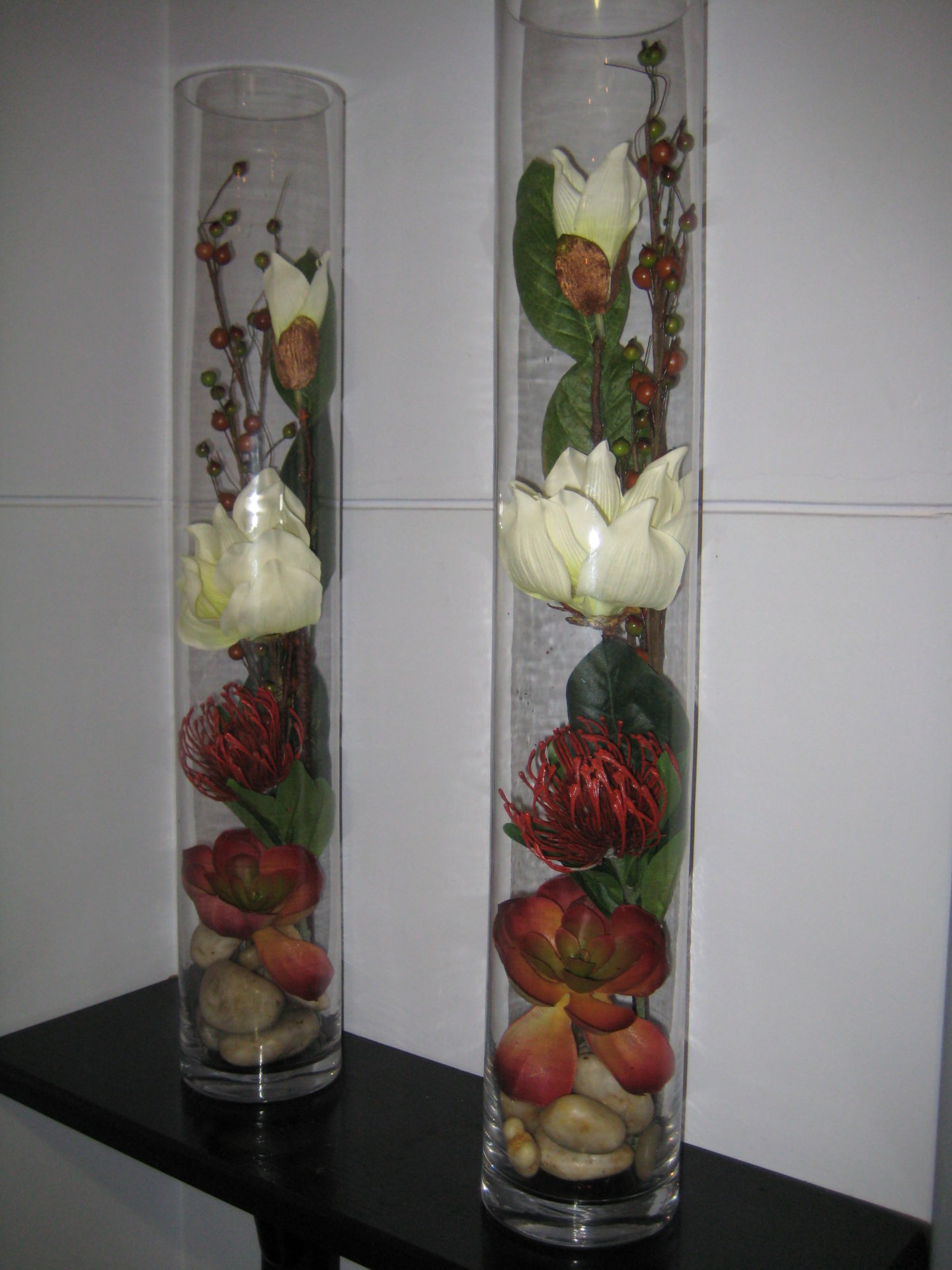 Matching set glass vase Magnolia arrangements