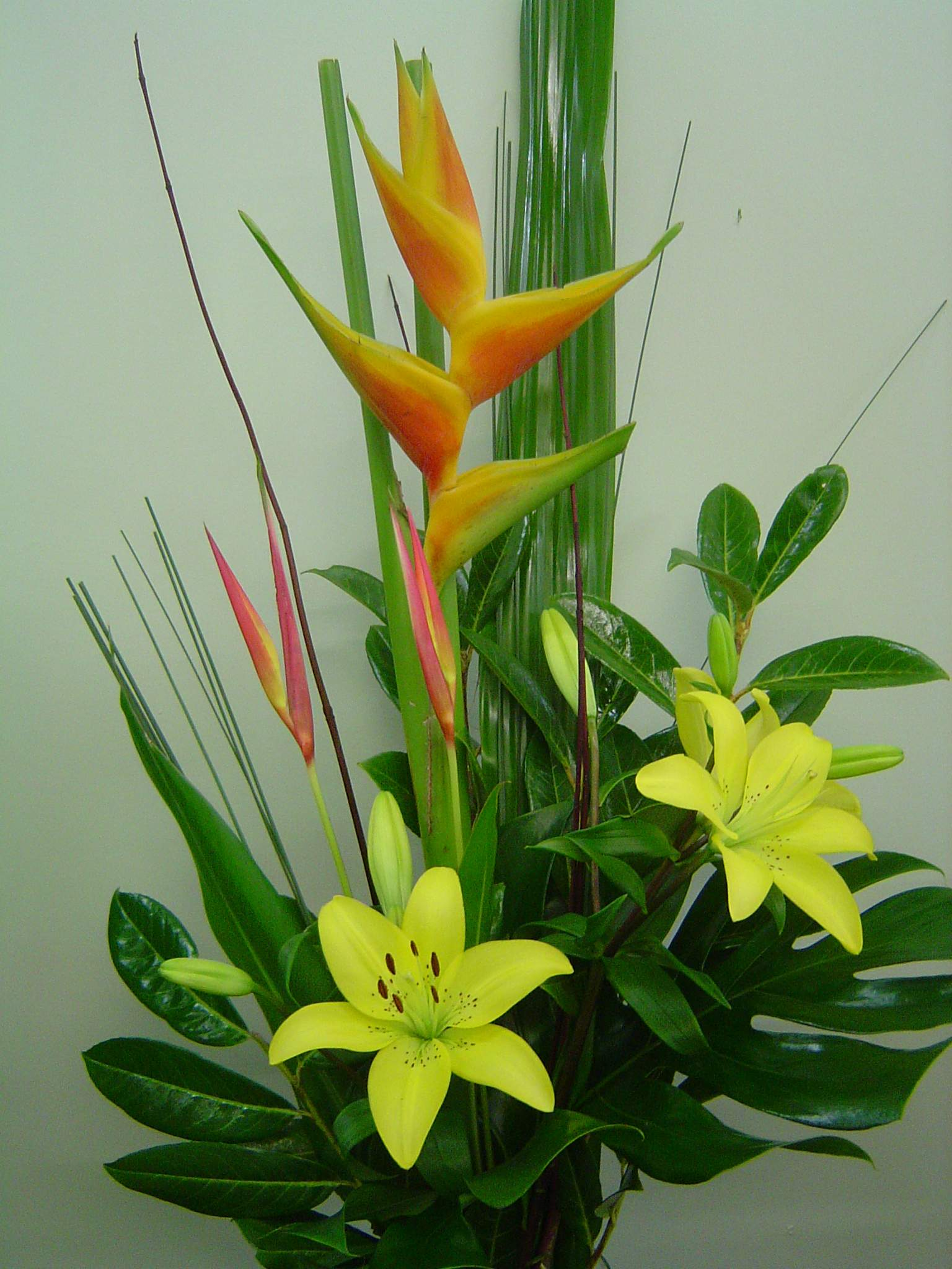 Bright tropical flowers in a presentation style bouquet