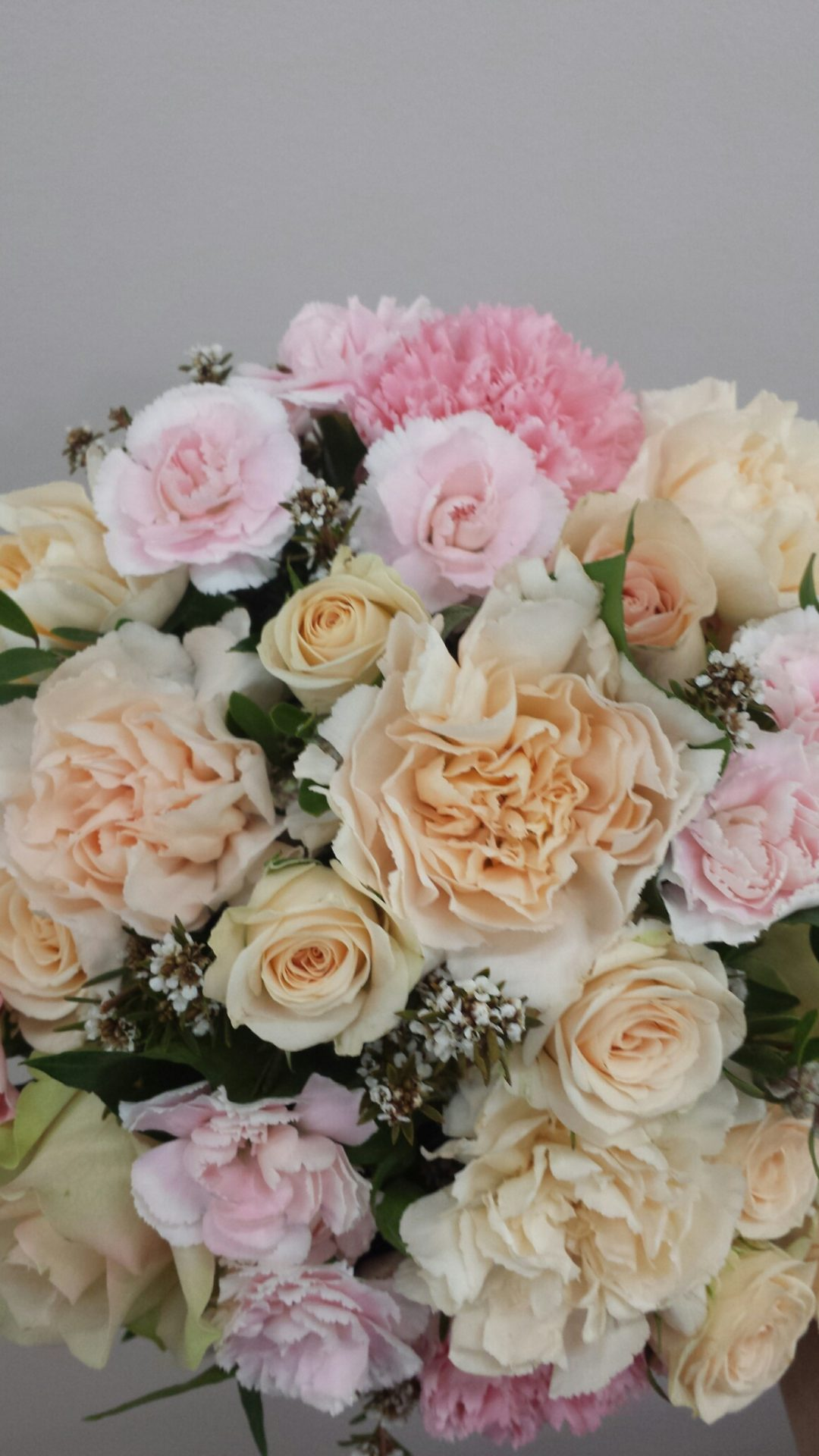 Pastel roses, carnations and spray roses