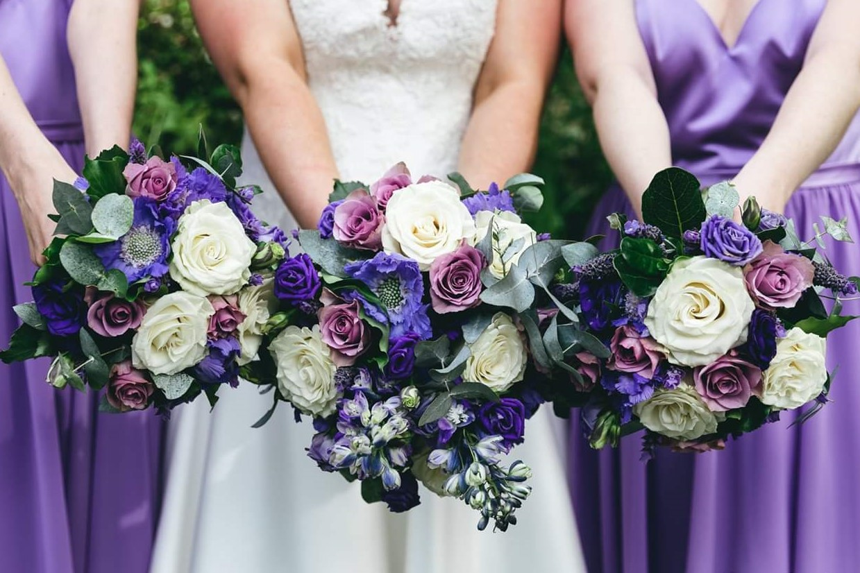 Purple and mauve soft grouped style bouquet