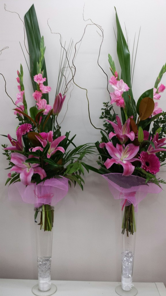 Tall glass vase bouquets