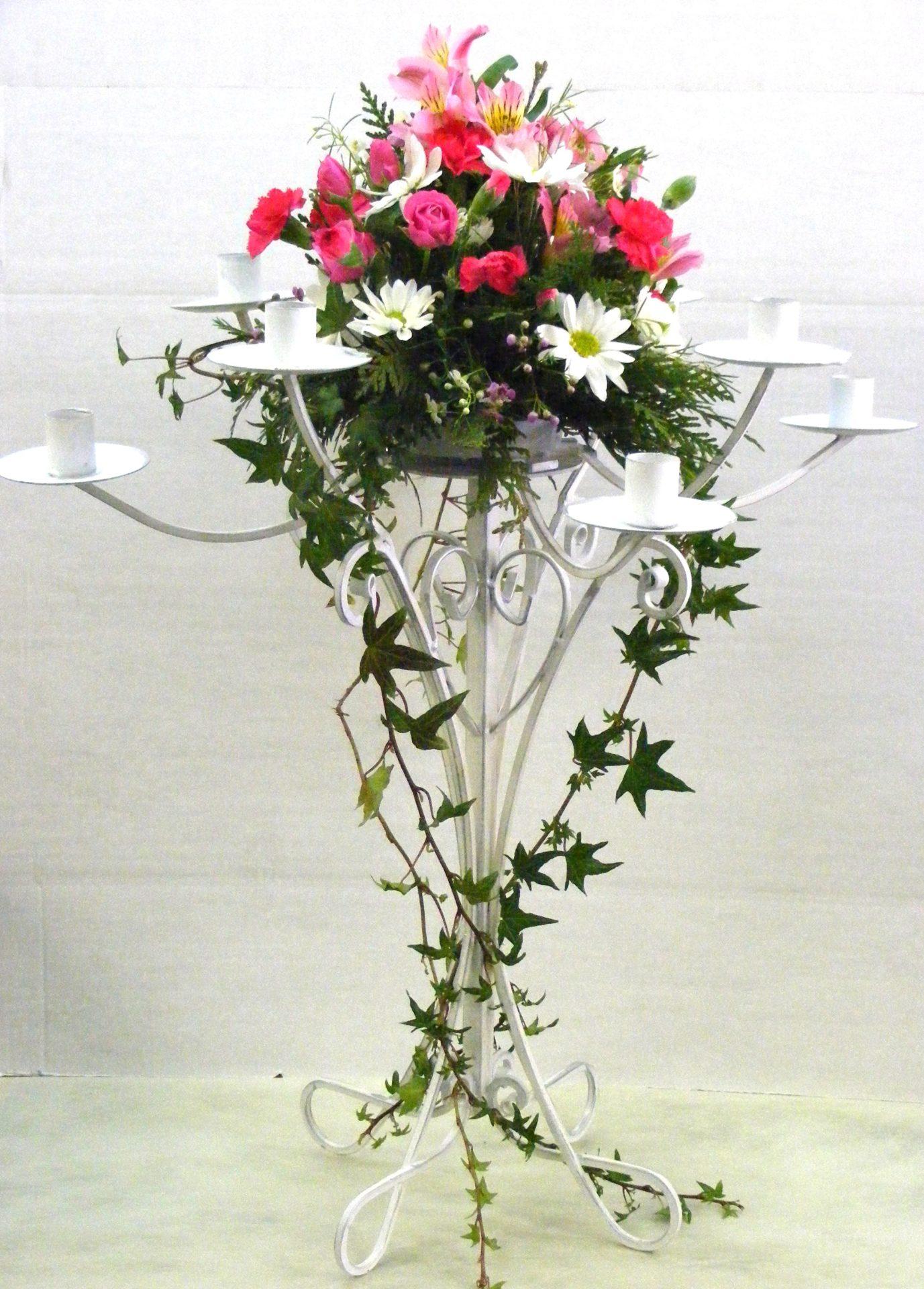 candelabra bowl arrangement with cascading ivy