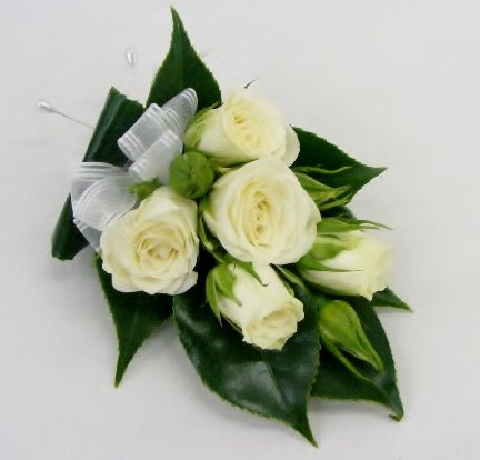 corsage - white spray roses - blackwood florist