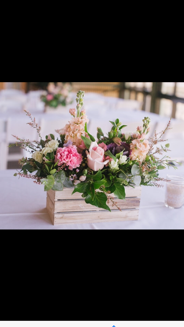 low wooden crate table arrangement