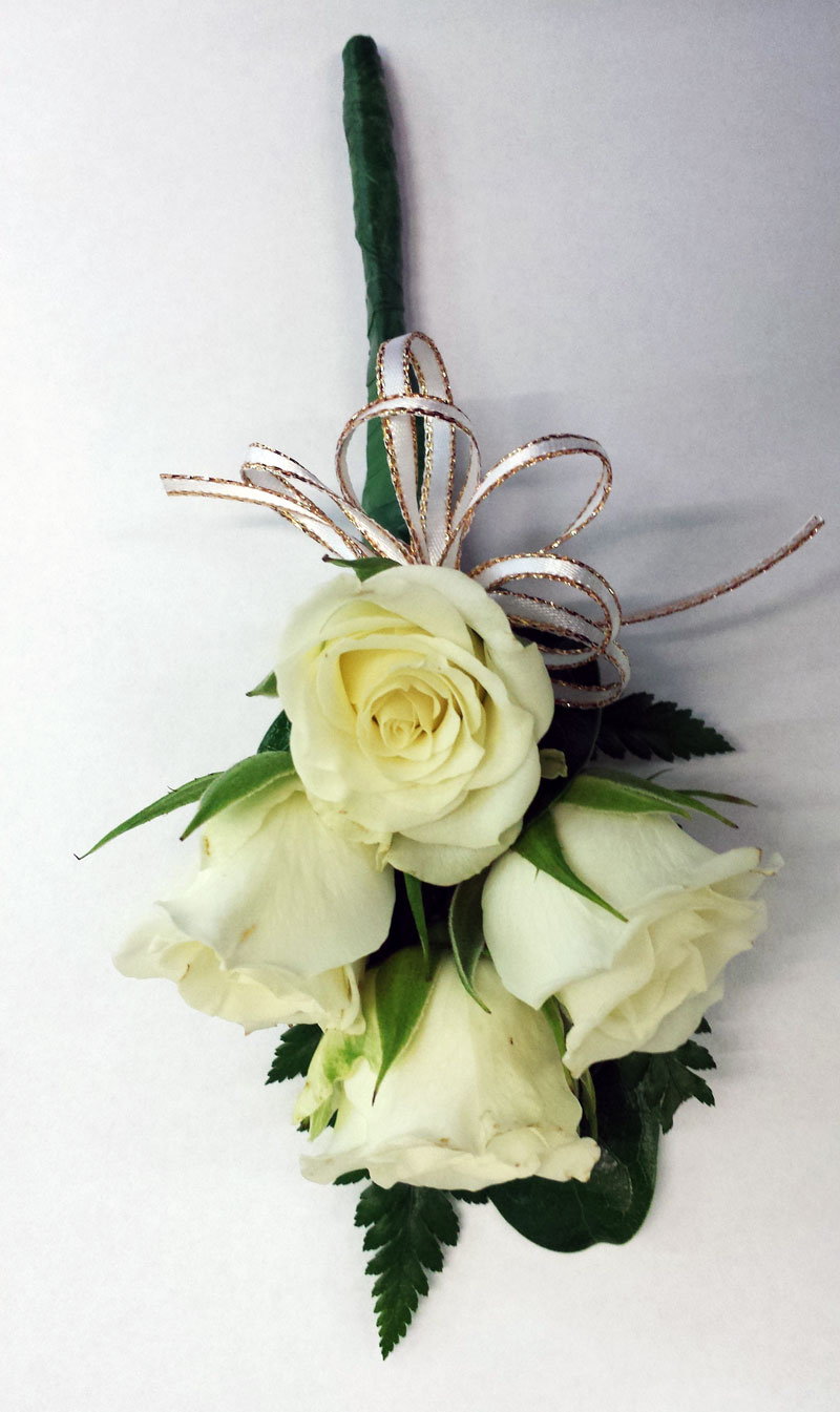 white rose ladies pin on style corsage