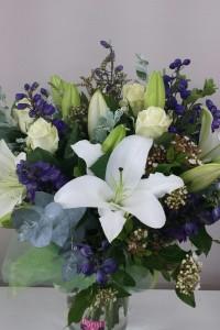 White and purple garden bouquet